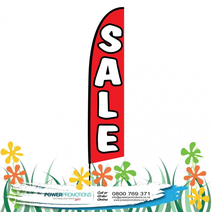 Sale Red Background White Text with Black Outline available
